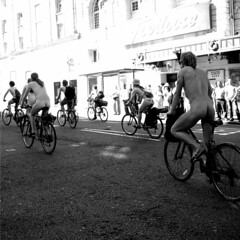 Footloose and fancy free ([fakey]) Tags: blackandwhite london nakedcyclists fakey