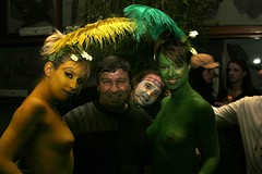 London 1st year Premiere Party (Pat Rioux) Tags: girls people naked nipples circus clown feathers staff artists bodypainting acrobats cirque cirquedusoleil dralion aroundtheworld europeantour