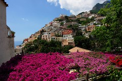 View of Positano, Italy (tollen) Tags: pink blue italy white colorful amalficoast positano picturesque smalltown mediterraneansea tyrrheniansea akdeniz bougainvillia gtaggroup medittarenean