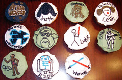 Star Wars Cupcakes (gooskimo) Tags: birthday black green cake movie star cupcakes starwars yoda princess leah luke darth r2d2 stormtrooper c3p0 icing sciencefiction wars darthvader chubaka
