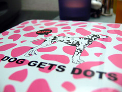 dog gets dots (highglosshighs) Tags: pink dog white black japan tin july 2006 dalmation engrish fart  toyama dots fukumitsu