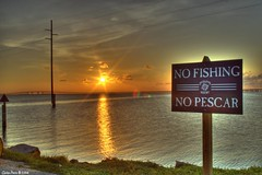 No Fishing / No Pescar (CarlosBravo) Tags: sunset sea sun reflection sol beach water island mar fishing agua south playa carlosbravo padre hdr padreisland