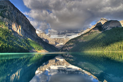 Lake Louise (Guillaume (www.gcpic.com)) Tags: mountains reflection water glacier guillaume lakelouise hdr turqoisecolor