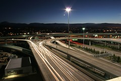 101 to SFO (A Sutanto) Tags: california road longexposure blue usa cars night airport sfo freeway headlight