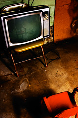 television, red chair