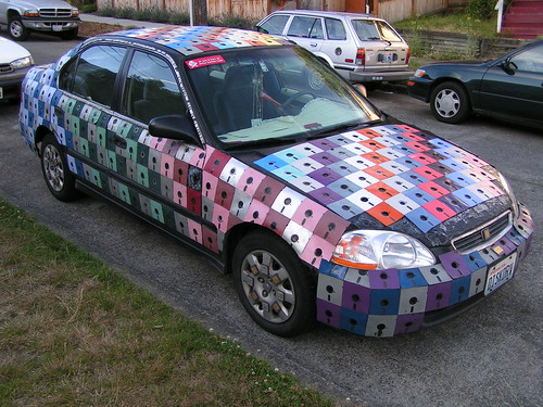 Floppy disk art car, Seattle, 07/14/05 by photophonic.