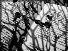 Pioggia di parole (Eshwar Emilio Cassanese) Tags: white black ombra libro ombre petali pioggia bianco nero parole cadere leggere goccia gocce ascoltare guardare correre piovere eshwar fermarsi esistere rincorrere