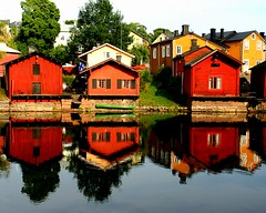 Doubling (la_febbra) Tags: red house water reflections finland woodenhouse porvoo calendario