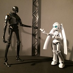 """Hello, tall, dark and handsome."" (Sasha's Lab) Tags: boy meets girl drossel fireball k2s0 android droid robot star wars gynoid"