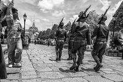 Under The Jackboots in Thailand (Anoop Negi) Tags: thailand thai military jackboots march royal palace current affairs photo photography guns fatigues uniforms dress weapons rifles anoop negi ezee123 bnw black whit