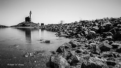 Lighthouse and Rocks   (Thank you, my friends, Adam!) Tags: bw lighthouse white canada black beauty rock vancouver nikon rocks slow angle wide wideangle monotone dslr        world100f