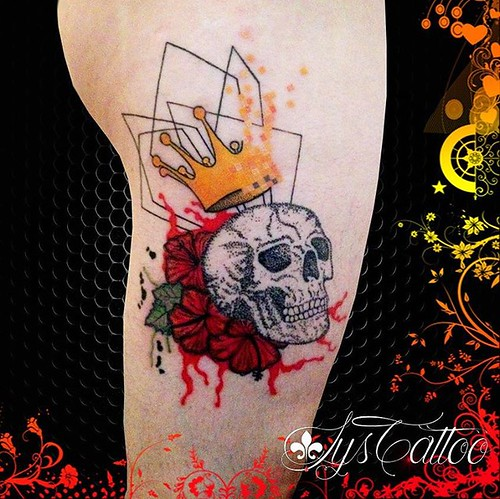 Tatouage Tete De Mort Skull Dotting Dotwork Couronne Pixel