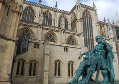 York Minster and Constantine (mademoisellelapiquante) Tags: york uk england architecture cathedral yorkshire medieval constantine yorkminster gothicarchitecture emperorconstantine