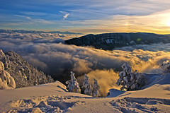 Somewhere over the rainbow...The Mont Blanc , the sea of clouds , a  view from Les Rochers de Tablettes , Canton of Neuchtel. Sunset of 12 12 12 . No. 1607. (Izakigur) Tags: schnee trees winter sunset orange snow alps tree love topf25 fog clouds alpes liberty hope schweiz switzerland twilight flickr suisse swiss feel free topf300 jura neige alpen mylife neuchatel montblanc lepetitprince adel samsmith romandie skyfall nikond700 izakigur armandamar