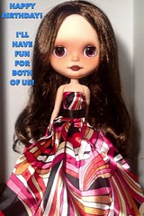 Blythe-a-Day September #23 Party: Claudia Wishes Lyndell a Happy Birthday