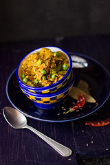Bengali style Cabbage Sabji (Chandrima Sarkar) Tags: blue india ceramic delhi spoon curry vegetable cabbage peas bengali foodphotography foodstyling