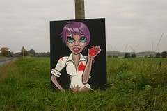 Cold hands Warm heart (PinkyDoodles) Tags: uk halloween painting mural zombie cartoon lincolnshire publicart artphotography
