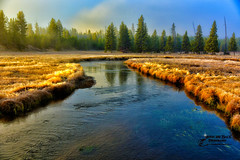 DAWN OF A NEW DAY (Aspenbreeze) Tags: morning trees sky mist nature water fog clouds rural sunrise dawn canal steam yellowstonenationalpark yellowstone wyoming aspenbreeze moonandbackphotography bevzuerlein