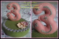 Topo de Bolo (Manezinha Arteira) Tags: artesanato feltro tecido mêsversário topodebolo artegemeas manezinhaarteira