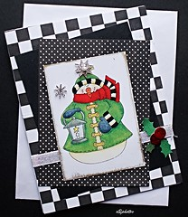 Handmade Christmas Card (n2photos2009) Tags: paper gold snowman holly dots challenge stamped christmascard cardstock handmadecards rmay n2photos 2015365 2015365challenge