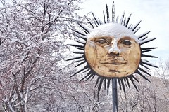Snow on the sun (beyondhue) Tags: sun sculpture snow winter tree museum history beyindhue gatineau quebec canada smile metal public art