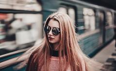 DARYA (Wildfox photography) Tags: woman fashion style glasses model modeltests metro kharkiv ukraine graywildfox train поезд метро фешн девушка очки белая волосы длинные longhair blonde блондинка ретушь мода moda retoch canon кенон 5dmarkii portrait портрет