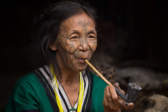 Tattooed woman, Chin State (mgirard011) Tags: asie chinstate lieux myanmarbirmanie mm 100faves