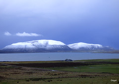 January Snow On The Hoy Hills (orquil) Tags: january morning winter snow hoy island hills wardhill cuilags silhouette steepsides cloudy sky cloudscape smallpart graemsay isle seaside clestrainsound scapaflow seascape westmainland shoreline rural farmland fields farms buildings orkney islands scotland uk unitedkingdom greatbritain orcades seasonal wintry interesting elevated view nice landscape scenic memorable southisles