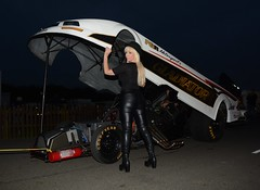 Jackie FT  169 (Fast an' Bulbous) Tags: funny car dragster girl woman blonde milf mature leather jeans boots nitro flopper v8 supercharged blown fast speed power santa pod pits dusk pinup model nikon d7100 gimp people outdoor