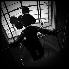 Balloon Man (firstnameunknown) Tags: iphoneography hipstamatic blackwhite monochrome london royalacademy summerexhibition artgallery art artwork sculpture balloons