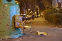 Resting (Brînzei) Tags: bucurești fujifilmxpro1 fujinonxf35mmf14 cavemanart chairs garbagebins green junkyard murky nightwatch pavement street streetlighting yellow ștefancelmare