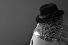 The Chairman (MPnormaleye) Tags: microphone mic metal hat felt fedora crooner singer abstract symbolism fun strange utata macro