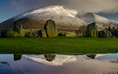Blencathra Reflections (Peter Quinn1) Tags: castlerigg castleriggstonecircle keswick lakedistrict cumbria stonecircle reflection reflections blencathra snow winter puddle