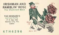Rapid Press: Irishman & Ramblin' Rose - Haines City, Florida (73sand88s by Cardboard America) Tags: vintage rapidpress florida qsl cb cbradio qslcard irish flowers rose