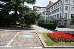 Plaza España (Jusotil_1943) Tags: 03082013 setos flores rojas plaza oviedo minusvalia regodones señales trafico