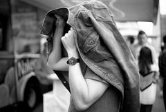 To Stay Dry (jfearer_photo) Tags: 500px rain jacket coat denim street man watch seattle washington film delta 400 d76 ilford kodak dry wet