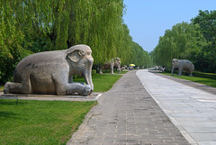 The Ming Tombs guards along the road to the tombs. (Lena and Igor) Tags: china road travel trees sun nikon bright beijing scenic elephants 1855 guards nikkor ming sculptures tombs d40x flickrtravelaward