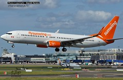 Sunwing C-FEAK Boeing 737-800 arriving at Dublin Airport with split scimitar winglets (bananamanuk79) Tags: dublin irish airplane flying airport aircraft aviation jet planes boeing split airliners 737 scimitar 737800 sunwing avgeek flysunwing cfeak dubairport