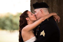 Kiss the Bride (Robbybeggs) Tags: wedding light sunset portrait blur guy girl beautiful field photoshop photography golden pretty dof dress bokeh outdoor background military ceremony rob hour archway technique depth formals beggs separation lightroom 6d 135l of