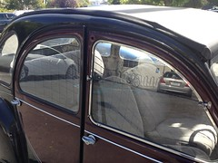 IMG_0914 (wbaiv) Tags: deu chevaux twohorse antique displacement horsepower equivalent escargo charleston for french farmers hydropneumatic suspension berkeley 4th street parking lot dark red black trim folding vinyl roof deux 2cv deuxchevauxvapeur citron 2steamhorses front wheel drive maroon two tone gray interior diagonal oblique nonsquare angled car automobile land transportation vehicle motor transport wheeled