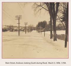 Main St., Andover, Mass., looking south during flood, March 3, 1896 (State Library of Massachusetts) Tags: andovermassachusetts statelibraryofmassachusetts photographcollections flood1896