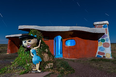 Betty Rubble (Aztravelgrl (Sandra Jungling)) Tags: longexposure nightphotography arizona usa lightpainting lowlight williams roadsideamerica flinstones bedrockcity