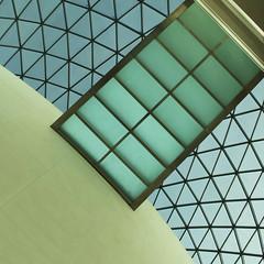 Bottleneck (Arni J.M.) Tags: uk roof england building london glass lines wall architecture diamonds ceiling diagonal walkway britishmuseum greatcourt bottleneck normanforster