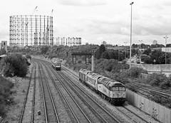 47727 at Washwood Heath (robmcrorie) Tags: leica film monochrome train 35mm rail class gas heath plus 50 m2 ilford fp4 47 holder gasometer colas 477 50007 47727 50017 washwood