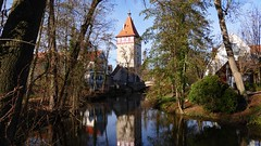 P1060593 (Rolfmundi) Tags: wasser turm spiegelung waiblingen rems