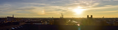 Fabulous view over Munich even to the mountains (Nikon D810) (Andreas Mezger - Photography) Tags: sunset fab panorama sun mountains church silhouette museum munich high view top wide rosa sunny resolution sunrays terasse deutschesmuseum