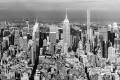 Manhattan Skyline viewed from One World Observatory (nianci pan) Tags: city nyc urban bw newyork buildings landscape cityscape manhattan skylines empirestatebuilding pan    duilding  sonyalphadslr  nianci sonyphotographing
