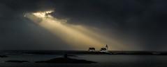 Homborsund lighthouse (Torehegg) Tags: sea sky panorama sun sunlight lighthouse seascape norway northsea coastline fyr sunray sørlandet homborsund sjø grimstad fyrtårn austagder kalvehageneset