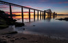 Bridges Burning HDR (Kyoshi Masamune) Tags: scotland southqueensferry wideangle ultrawideangle panorama bridge forth forthroadbridge forthrailwaybridge queensferrycrossing sunset clouds cloudscape hdr highdynamicrange northsea northqueensferry kyoshimasamune sea seascape edinburgh uk