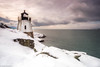 Castle Hill Lighthouse after a snowfall (tburling) Tags: castlehilllighthouse clouds fuji narragansettbay newport ocean rhodeisland snow stormy xt2
